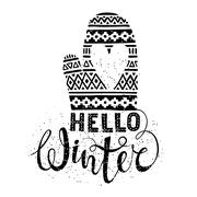 Hello winter text and knitted woolen mitten with heart. Seasonal shopping Stock Illustration