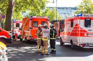 Emergency services team on chemical accident location. Stock Photos