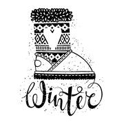 Winter text brush lettering and boots with heart. Seasonal shopping concept Stock Illustration