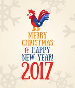 Happy New Year 2017 - holiday poster with a rooster Stock Illustration