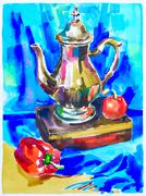 Blue watercolor painting still life with jug, pepper, apple and Stock Illustration