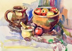Watercolor sketch painting of still life with vintage tableware Stock Illustration