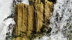 Waterfall and rocks on river Vydriha near village Belovo in Novosibirsk regio Stock Footage