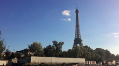 Eiffel Tower View From Seine River Stock Footage