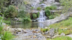 Succession of waterfalls. Stream of Aguilon. Stock Footage