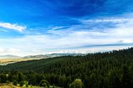 Beautiful landscape of Ukrainian Carpathian mountains and cloudy sky Stock Photos