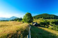 Beautiful view of village in Ukrainian Carpathian mountains Stock Photos