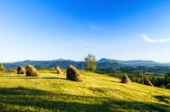 Beautiful landscape of haystacks in field Stock Photos