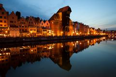 City skyline of Gdansk at evening in Poland, Old Town with reflection on Motl Kuvituskuvat