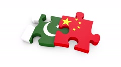 Pakistan and China flag puzzle pieces fitting together Stock Footage
