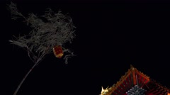 Branches decorated with chinese's lantern, in the rituals of the shrine Stock Footage