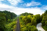 Wonderful view of railway and countryside road among trees Stock Photos