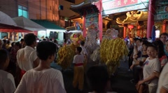 Lion dance show get in Kuan Yim Shrine at Chinese Vegetarian Festival Stock Footage