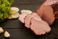 Ham and green salad close Stock Photos