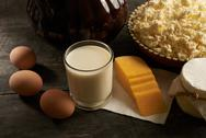 Dairy and eggs on the table Stock Photos