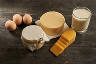 Delicious dairy products on a table Stock Photos
