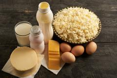Dairy products on a table Stock Photos