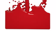 Red paint splashes filling a container. Colored paint Stock Footage