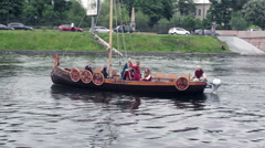 Replica of Traditional Viking Longship Boat on the Water Stock Footage