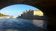 Paris Seine River View From The Ship  Stock Footage