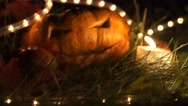 Still life with pumpkin for Halloween on the background of dark scary night Stock Footage