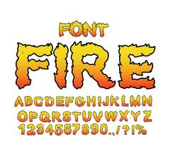 Fire font. Flame ABC. Fiery letters. Burning alphabet. Hot typography. blaze  Stock Illustration