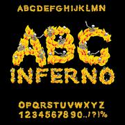 Inferno ABC. Hell font. Fire letters. Sinners in hellfire. hellish Alphabet.  Stock Illustration