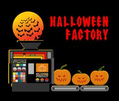 Halloween factory. Device manufacturing scary pumpkin. Vegetables and bats pr Piirros