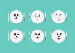 Emotions plate. Set expressions cutlery. Good and evil. Discouraged and cheer Stock Illustration