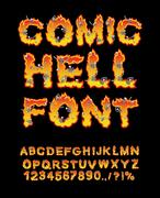 Comic Hell font. inferno ABC. Fire letters. Sinners in hellfire. hellish Alph Stock Illustration