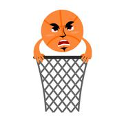 Basketball and ring. Game accessories. Hit in net. Emotions ball Piirros