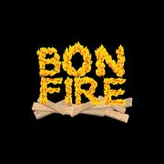 Bonfire typography. Fire letters. Burning Boards. Flame lettering Piirros