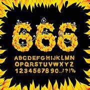 666 font. Hell ABC. Fire letters. Sinners in fiery Gehenna. Infernal Alphabet Piirros
