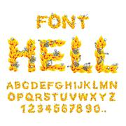 Hell font. inferno ABC. Fire letters. Sinners in hellfire. hellish Alphabet.  Piirros