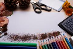 Brushes, colored pencils and other tools Stock Photos