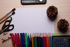 Office and school stationery on the table Stock Photos