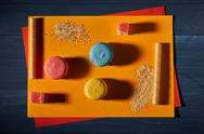 Abstract sweets on yellow and blue background Stock Photos