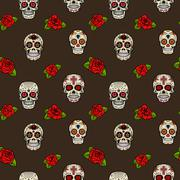 Seamless pattern with sugar skulls and roses. Day of the dead. Stock Illustration