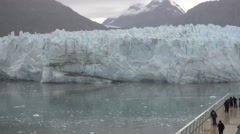Tourists on a Cruise Ship View Margerie Glacier  	 Stock Footage