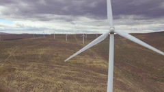 Aerial Close Up of Modern Metal Windmill Creating Sustainable Energy Stock Footage