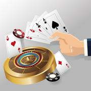 Cards of poker roulette and chips design Stock Illustration