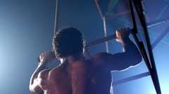 Athlete Doing Pull Ups. Shot on RED EPIC Cinema Camera  in Slow Motion. Stock Footage