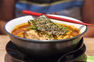 Japanese Pork Ramen Noodles and Chopsticks Stock Photos