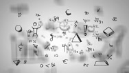 Hand-Drawn Numbers - Background Loop - Symbols and drawings - White Stock Footage