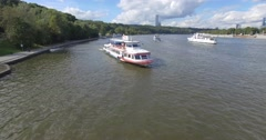 Aerial shot. people ride on a ship a boat on the lake river Stock Footage