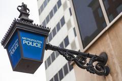 British Metropolitan Police Lamp Sign Stock Photos