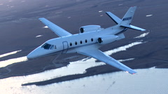 Cessna Citation XLS + Air to Air Turn Left Stock Footage