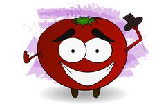 Cool tomato character illustration in comic style holding black hat Stock Illustration