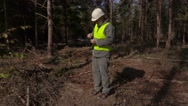 Lumberjack take pictures near pile of logs Stock Footage