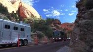 Zion National Park, motor home Stock Footage